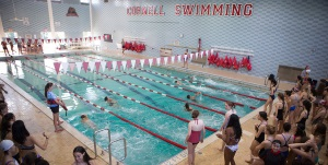 Students taking the Cornell swim test